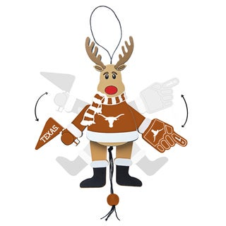 Texas Longhorns Wooden Cheering Reindeer Ornament