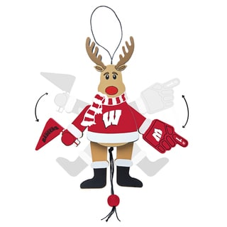 Wisconsin Badgers Wooden Cheering Reindeer Ornament
