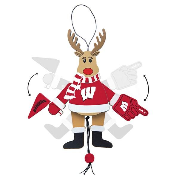 Wisconsin Badgers Wooden Cheering Reindeer Ornament