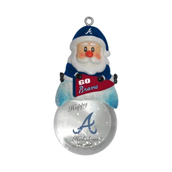 Atlanta Braves Santa Snow Globe Ornament