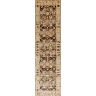 Traditional Brown/ Gold Floral Distressed Runner Rug - 2'7 x 8'