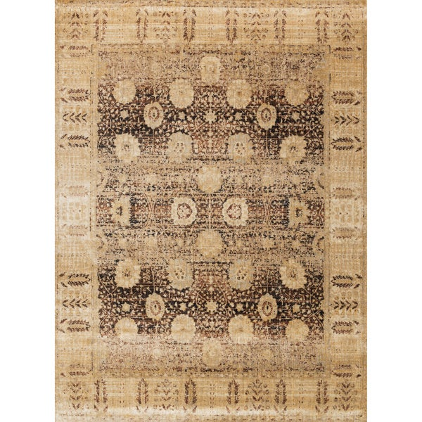 Traditional Brown/ Gold Floral Distressed Rug - 9'6 x 13'