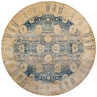 Contessa Blue/ Gold Rug (7'10 x 7'10 Round)