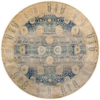 Traditional Blue/ Gold Floral Distressed Round Rug - 7'10 x 7'10