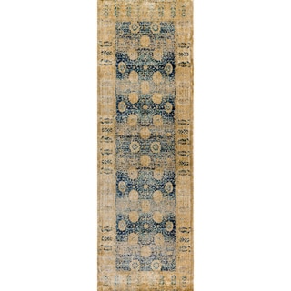 "Traditional Blue/ Gold Floral Distressed Runner Rug - 2'7"" x 12' Runner"