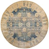 Traditional Blue/ Gold Floral Distressed Round Rug - 5'3 x 5'3