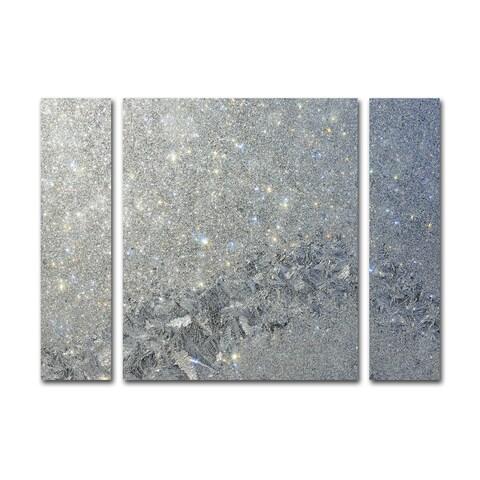 Kurt Shaffer 'Frost Pattern Sun Stars' Three Panel Set Canvas Wall Art