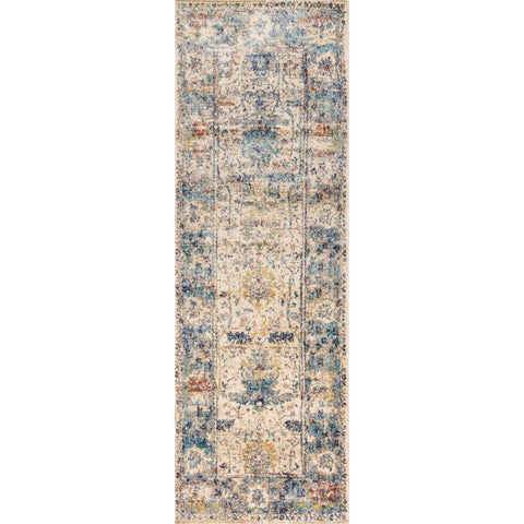 Traditional Sand/ Light Blue Floral Distressed Runner Rug - 2'7 x 12'