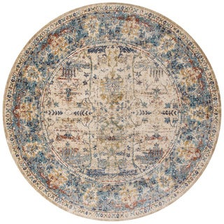 Contessa Sand/ Light Blue Rug (7'10 x 7'10 Round)
