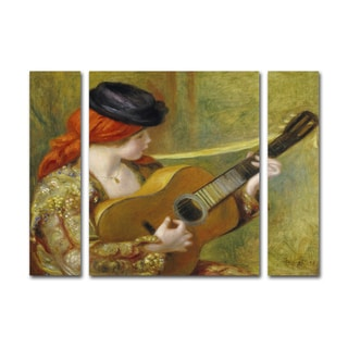 Pierre Renoir 'Young Woman with a Guitar' Three Panel Set Canvas Wall Art