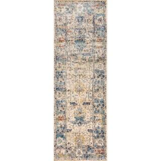 Contessa Sand/ Light Blue Runner Rug (2'7 x 8'0)