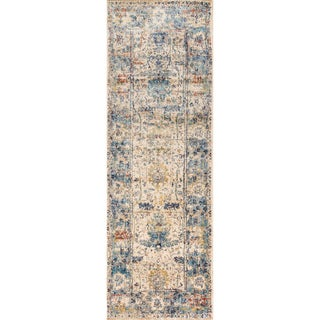 Traditional Sand/ Light Blue Floral Distressed Runner Rug - 2'7 x 8'
