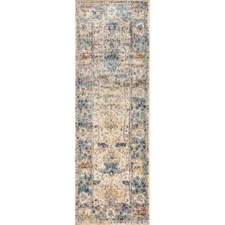 Traditional Sand/ Light Blue Floral Distressed Runner Rug - 2'7 x 10'