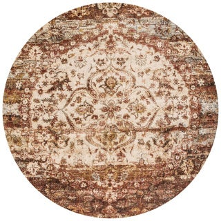 Traditional Rust/ Ivory Medallion Distressed Round Rug - 9'6 x 9'6