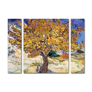 Vincent Van Gogh 'Mulberry Tree 1889' Three Panel Set Canvas Wall Art
