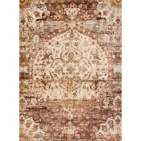 Traditional Rust/ Ivory Medallion Distressed Rug - 6'7 x 9'2