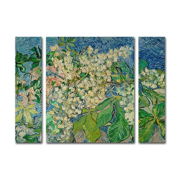 Vincent Van Gogh 'Chesnut Branches' Three Panel Set Canvas Wall Art - Multi