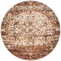 Traditional Rust/ Ivory Medallion Distressed Round Rug - 5'3 x 5'3