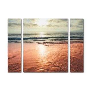 Ariane Moshayedi 'Sunset Beach Reflections' Three Panel Set Canvas Wall Art