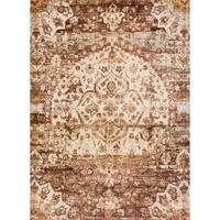 Traditional Rust/ Ivory Medallion Distressed Rug - 2'7 x 4'