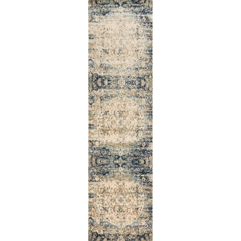Traditional Blue/ Ivory Medallion Distressed Runner Rug - 2'7 x 8'