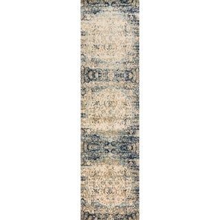 Contessa Blue/ Ivory Runner Rug (2'7 x 8'0)