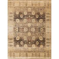 Traditional Brown/ Gold Floral Distressed Rug - 13' x 18'
