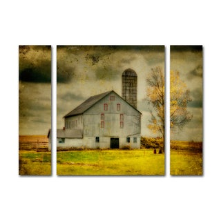 Lois Bryan 'Old Barn on Stormy Afternoon' Three Panel Set Canvas Wall Art