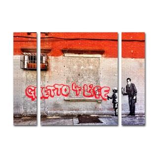 Banksy 'Ghetto For Life' Three Panel Set Canvas Wall Art