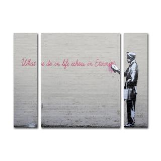 Banksy 'Echoes' Three Panel Set Canvas Wall Art