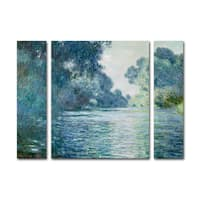 Claude Monet 'Branch of the Seine' Three Panel Set Canvas Wall Art
