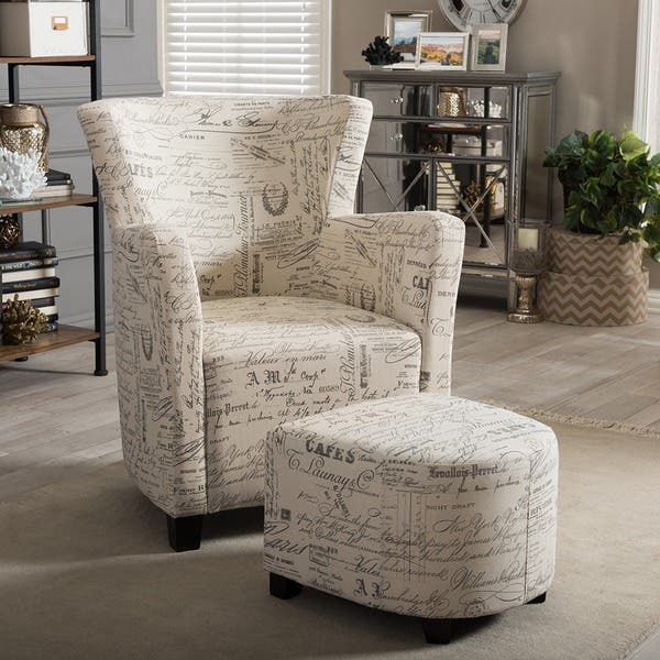 Cool Shop Baxton Studio Benson French Script Patterned Fabric Machost Co Dining Chair Design Ideas Machostcouk