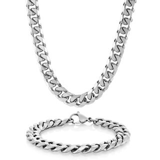 Crucible Men's Stainless Steel Cuban Link Bracelet and Necklace Set (10 mm)