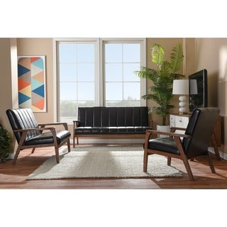 Baxton Studio Nikko Mid-century Modern Scandinavian Style Dark Brown Faux Leather Wooden 3-piece Sofa Set