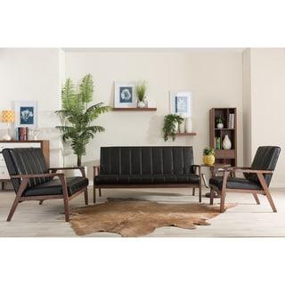 Baxton Studio Nikko Mid-century Modern Scandinavian Style Black Faux Leather Wooden 3-piece Sofa Set