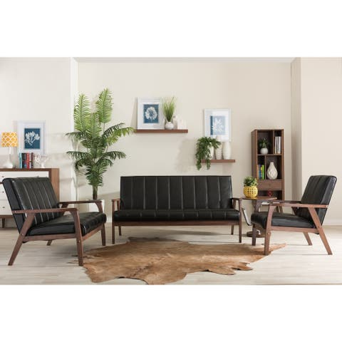 Baxton Studio Nikko Mid-century Modern Scandinavian Style Black Faux Leather Wooden 3-piece Sofa Set