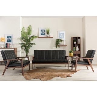 Baxton Studio Nikko Mid Century Modern Scandinavian Style Black Faux  Leather Wooden 3 Piece