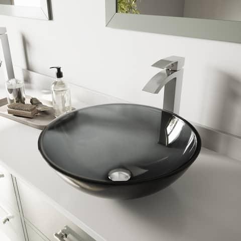 VIGO Sheer Black Glass Vessel Bathroom Sink Set with Duris Faucet