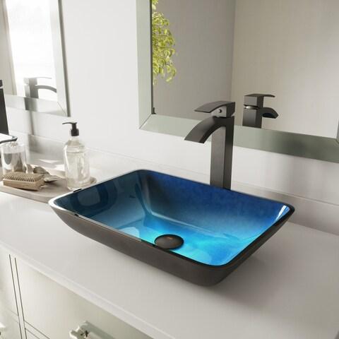 VIGO Rectangular Turquoise Water Glass Vessel Bathroom Sink Set With Duris Vessel Faucet In Matte Black