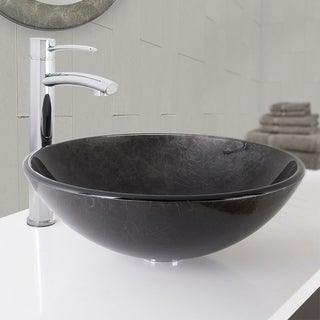 VIGO Gray Onyx Glass Vessel Sink and Milo Bathroom Vessel Faucet in Chrome