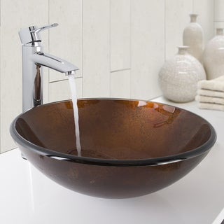 VIGO Russet Glass Vessel Sink and Shadow Vessel Faucet in Chrome
