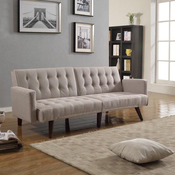 Shop Modern Splitback Linen Fabric Convertible Sleeper
