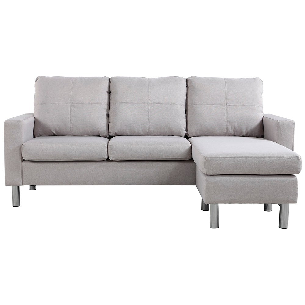 Madison Small Space Linen Fabric Sectional Sofa with Reve...