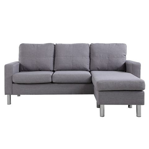 Small Space Linen Fabric Sectional Sofa with Reversible Chaise