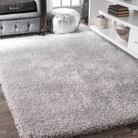 nuLOOM Handmade Soft and Plush Smooth Shag Silver Rug (9' x 12')