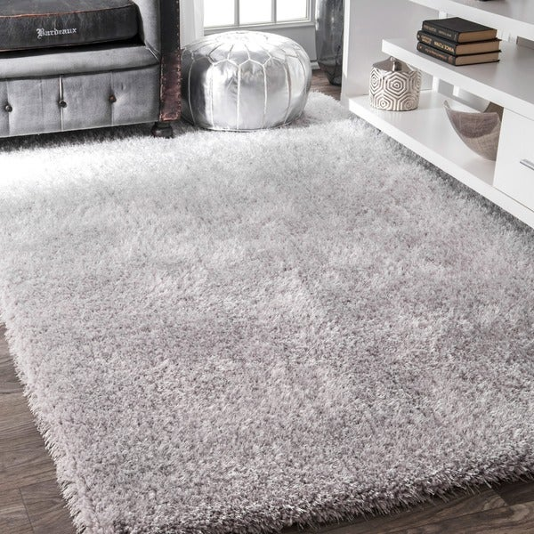 Nuloom Handmade Soft And Plush Smooth Shag Silver Rug 9