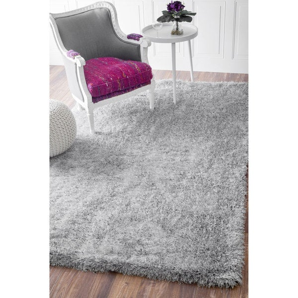 NuLOOM Handmade Soft And Plush Smooth Shag Silver Rug (9