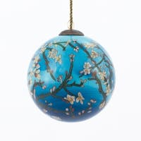 Vincent Van Gogh 'Branches of an Almond Tree in Blossom' Hand Painted Glass Ornament
