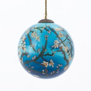 vincent van gogh branches of an almond tree in blossom hand painted glass ornament