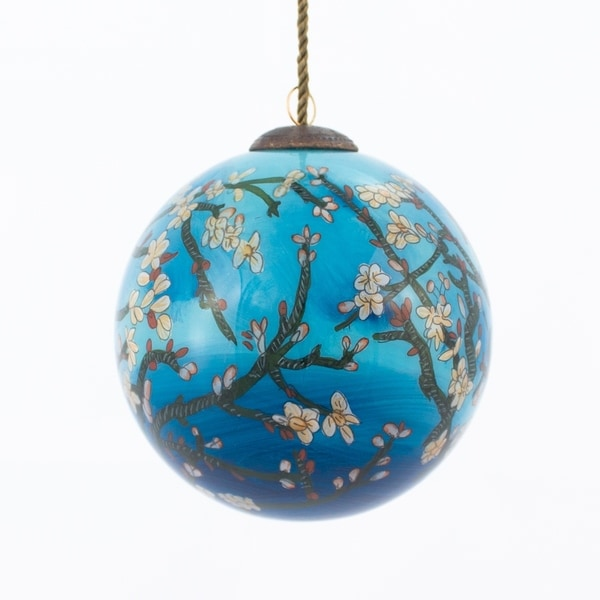 Vincent Van Gogh 'Branches of an Almond Tree in Blossom' Hand Painted Glass Ornament. Opens flyout.